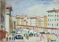 Quadro di Rodolfo Marma  Mercato di S. Lorenzo