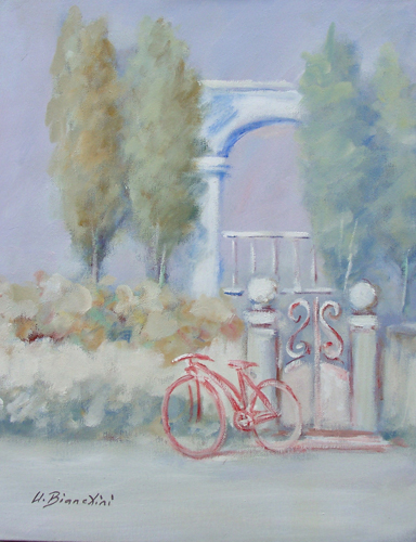 Art work by Umberto Bianchini Bici Rossa - oil canvas