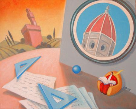 Quadro di Armando Orfeo Sognando Firenze - olio tela