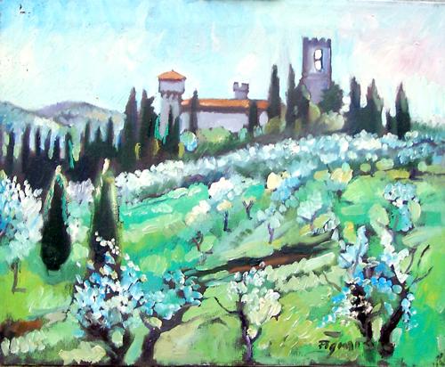 Quadro di Luigi Pignataro Paesaggio Toscano - olio tela