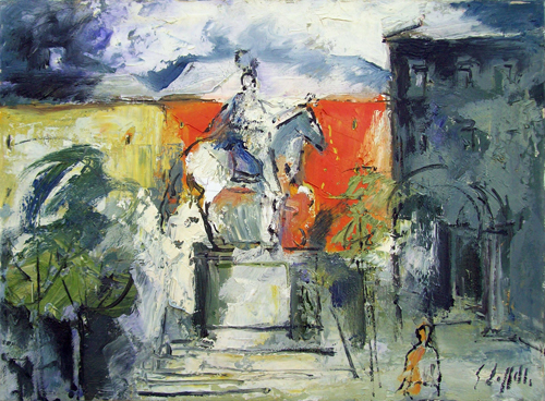 Quadro di Emanuele Cappello Statua equestre di Ferdinando I de'Medici,Piazza Santissima Annunzia - olio tela