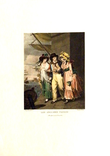 Quadro di firma Illeggibile Les Anglaises Facile - litografia carta