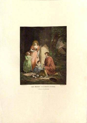 Quadro di firma Illeggibile Les Petits Cochons - litografia carta