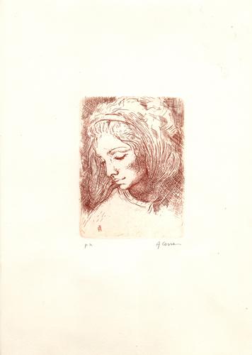 Quadro di Antonio Cerra Testa femminile - incisione carta