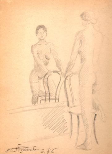 Quadro di Luigi Pignataro Nudo allo specchio - matita carta
