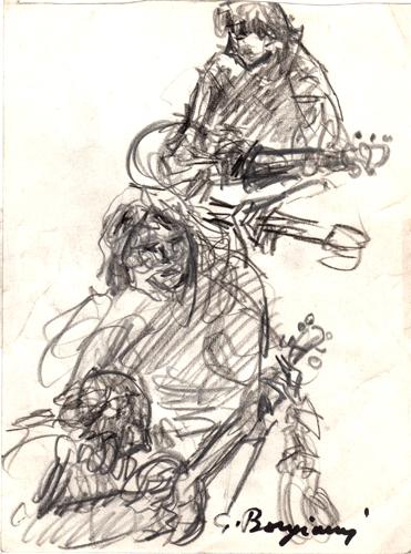 Art work by Guido Borgianni Figure con chitarre - charcoal paper