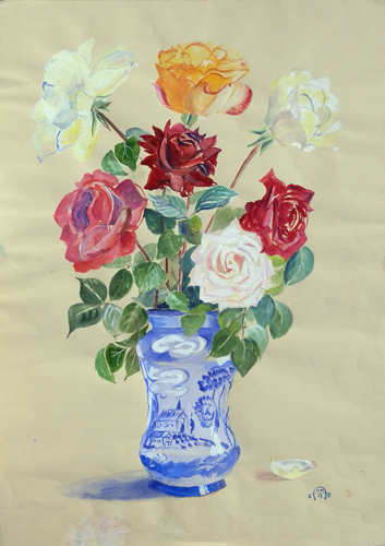 Art work by firma Illeggibile Vaso di fiori - varnish paper