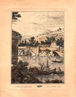 Quadro di  Antiquariato - Paesaggio marino litografia carta