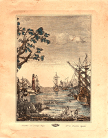 Work of  Antiquariato - Navi al porto lithography paper