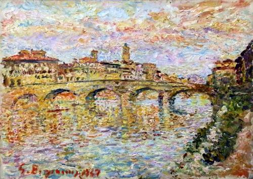Art work by Guido Borgianni Ponte Santa Trinita a Firenze - oil canvas