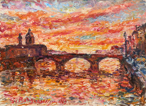 Quadro di Guido Borgianni Tramonto sul Ponte alla Carraia - olio tela
