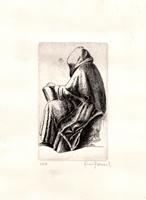Quadro di firma Illeggibile - Figura litografia carta