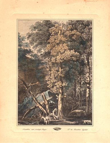 Quadro di  Antiquariato Paesaggio alberato con cacciatore - litografia carta