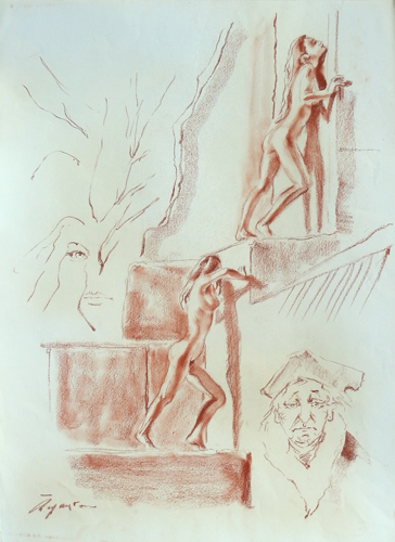 Quadro di Luigi Pignataro Sogno - sanguigna carta