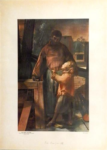 Art work by Pietro Annigoni San Giuseppe (Affresco nella Chiesa Parrocchiale del Galluzzo) - print paper