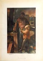 Quadro di Pietro Annigoni - San Giuseppe (Affresco nella Chiesa Parrocchiale del Galluzzo) stampa carta