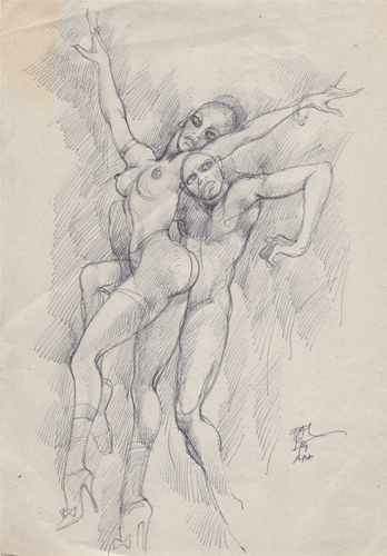 Quadro di Claude Falbriard Figure, penna biro su carta 30 x 21 | FirenzeArt Galleria d'arte