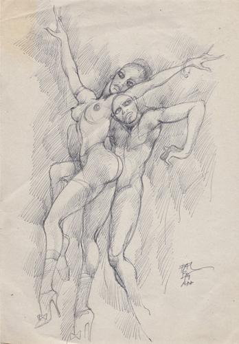 Quadro di Claude Falbriard Figure - penna biro carta