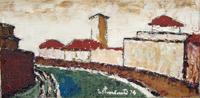 Quadro di Gastone Conti - Lungarno Pisa olio tela