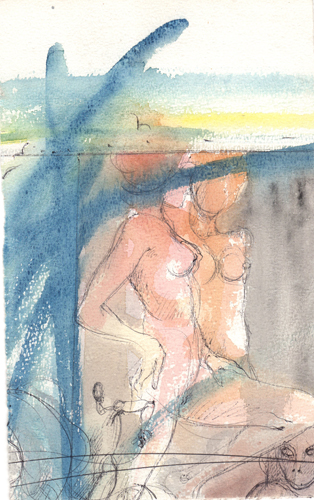 Art work by Claude Falbriard Figure - watercolor paper