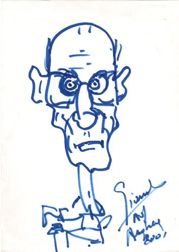 Quadro di Carlo Giannitrapani Indro Montanelli - pennarello carta