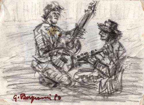 Quadro di Guido Borgianni Figure con chitarre - carboncino carta