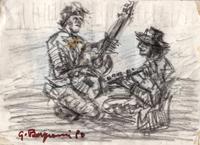 Quadro di Guido Borgianni - Figure con chitarre carboncino carta