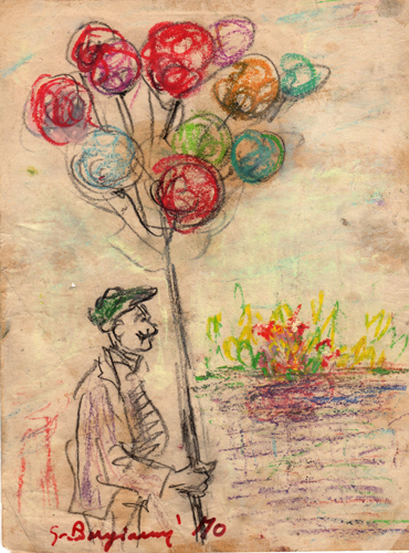 Quadro di Guido Borgianni Venditore di palloncini - pastello carta