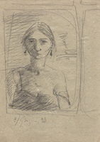 Quadro di Emanuele Cappello - Ritratto di donna lapis carta