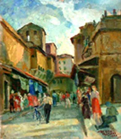 Quadro di Alberto Rosati Ponte Vecchio - olio tavola
