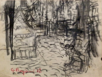 Quadro di Guido Borgianni - Strada carboncino carta