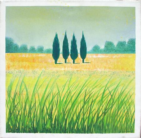 Quadro di Italo Di Lorenzo Paesaggio con cipressi - olio tela