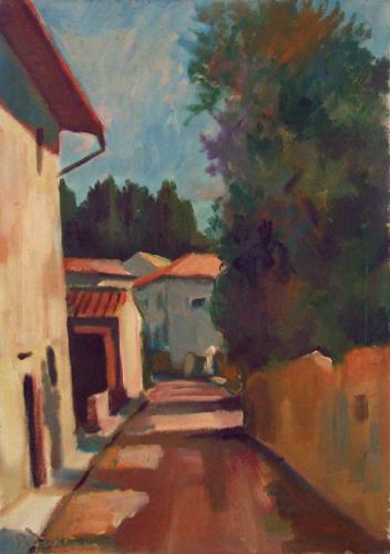 Quadro di Luigi Pignataro Strada di paese - Pittori contemporanei galleria Firenze Art