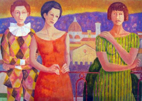 Quadro di Raffaello Lopez Figure - Pittori contemporanei galleria Firenze Art