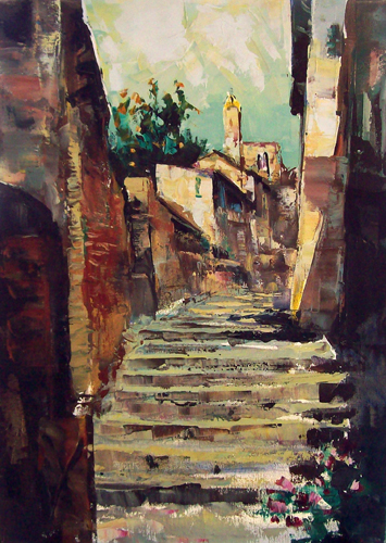 Art work by firma Illeggibile Scorcio cittadino - oil canvas