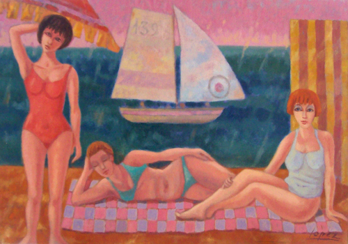 Quadro di Raffaello Lopez Bagnanti - olio tela
