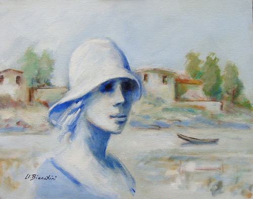 Quadro di Umberto Bianchini Veduta dal balcone - mista tela