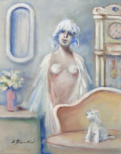 Quadro di Umberto Bianchini Interno con cane - mista tela