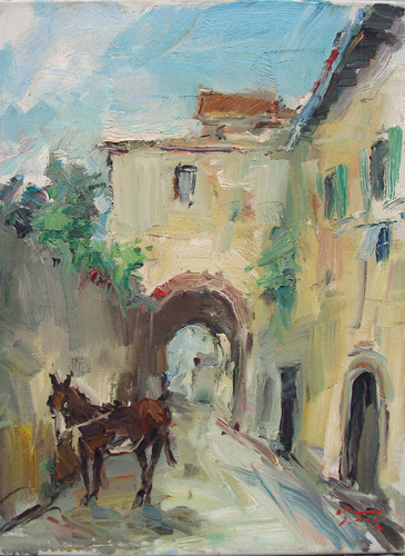 Art work by Gino Tili In paese - oil canvas