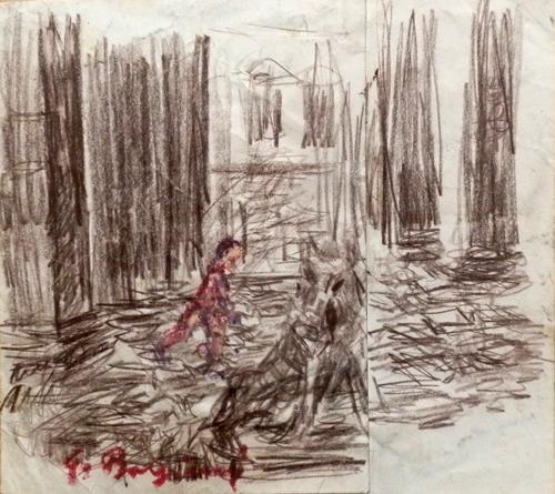 Art work by Guido Borgianni Il Porcellino - pastel paper