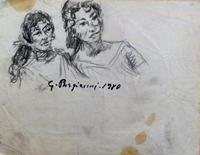 Quadro di Guido Borgianni - Figure femminili carboncino carta
