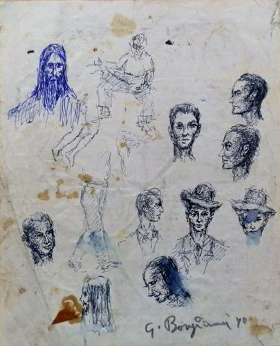 Quadro di Guido Borgianni Volti - penna biro carta