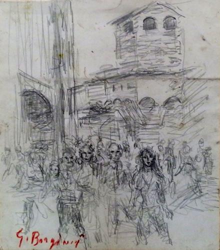 Quadro di Guido Borgianni La torre dei Mannelli a Ponte Vecchio - carboncino carta