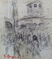 Quadro di Guido Borgianni - La torre dei Mannelli a Ponte Vecchio carboncino carta