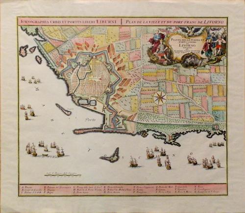 Quadro di  Antiquariato Cartina topografica di città e porto di Livorno - stampa carta