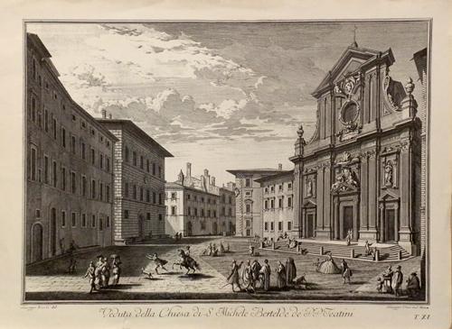 Quadro di  Antiquariato Veduta della chiesa di S. Michele Bertelde de' P.P.Teatini - stampa carta