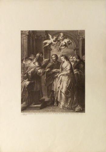 Quadro di  Antiquariato Matrimonio di Maria - incisione carta