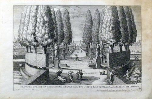 Quadro di  Antiquariato Teatro de cipressi con dodici sorgivi d'acqua - stampa carta