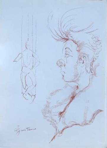 Quadro di Luigi Pignataro Clown e marionetta - Pittori contemporanei galleria Firenze Art