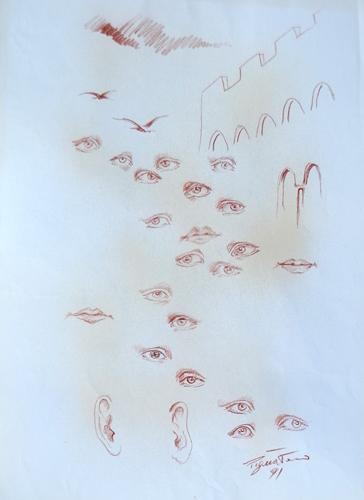 Quadro di Luigi Pignataro Guardare oniricamente - sanguigna carta